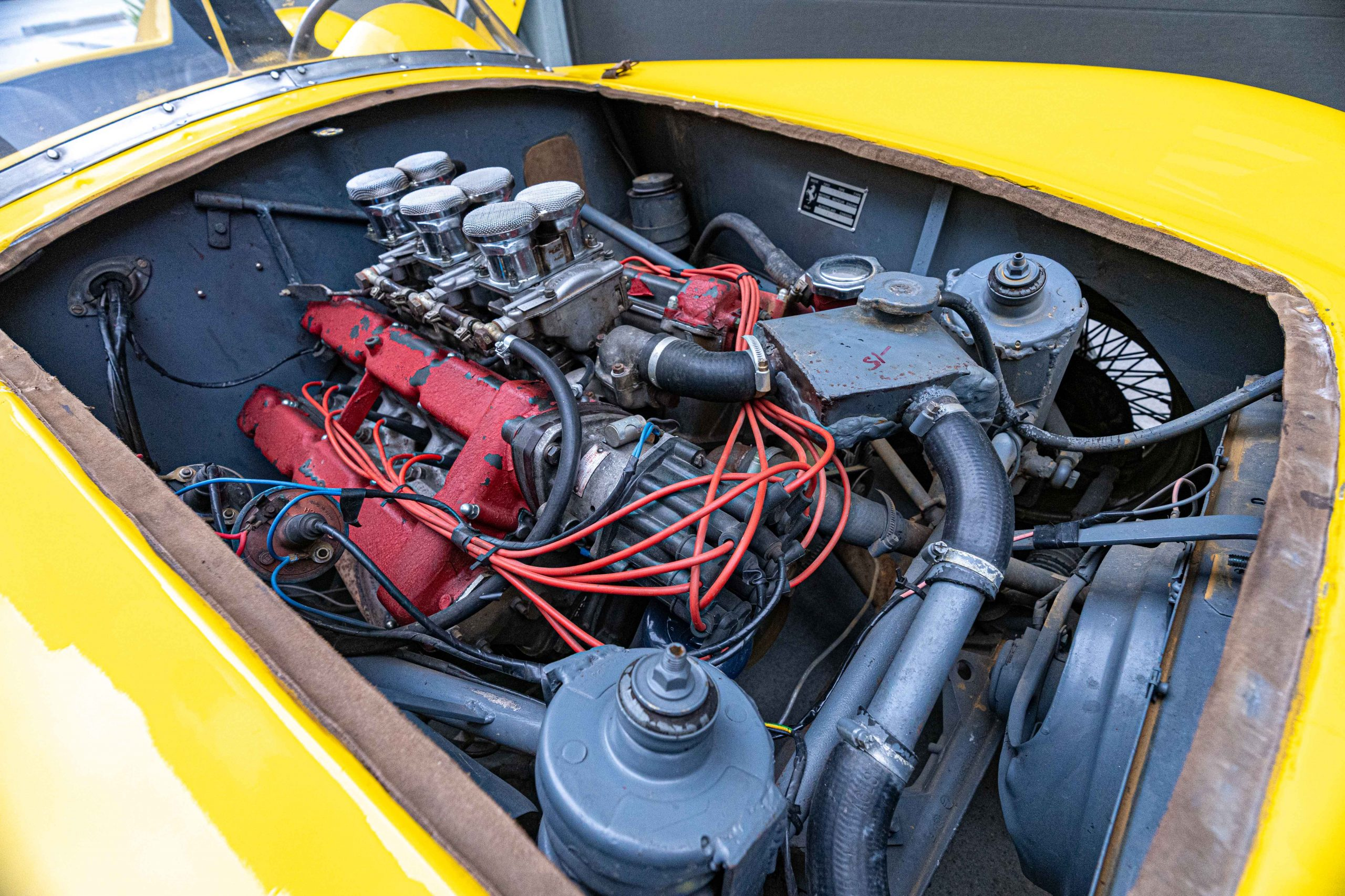1957 Ferrari 196 SP Engine passenger front view