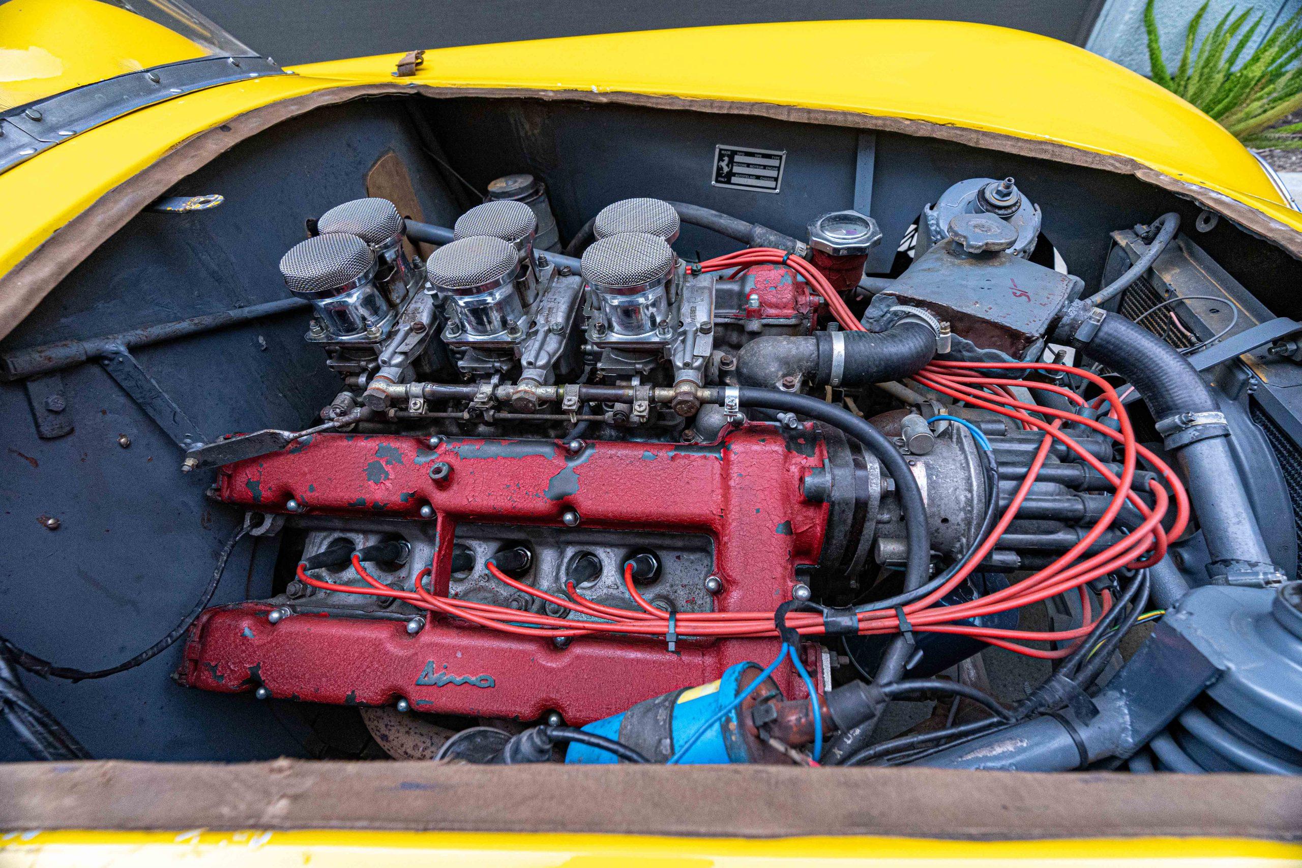1957 Ferrari 196 SP Engine passenger side view